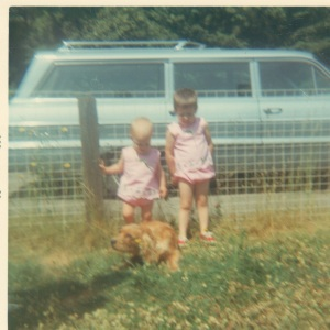 Me with my sister, our dog Rusty and the infamous station wagon in 1968.