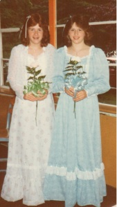 Me (in blue) with my friend Debbie at 8th grade graduation.